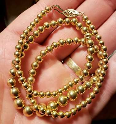 """NICE Womens Ladies 14K Yellow Gold 18"""" Graduated Bead Necklace"""