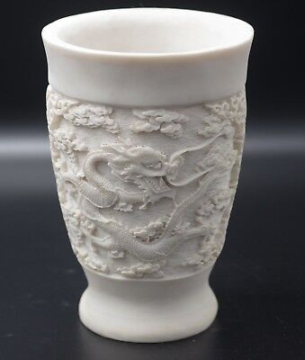 Alabaster Dragons Chinoiserie Carved Design Vase  Made Italy