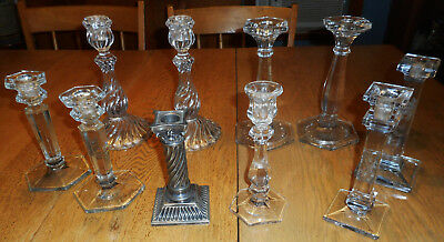 LOT Fostoria Heisey OLD Glass Candlesticks Candleholders Pairs Singles Silver Pl
