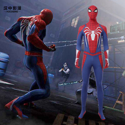 HZYM Game PS4 Spiderman Cosplay Costume Full Suit Jumpsuit Mask Halloween Suit