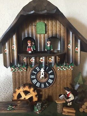 Cuckoo Clock, German Bavarian Style, Animated Dancers, w. 2 Tune Music Movement