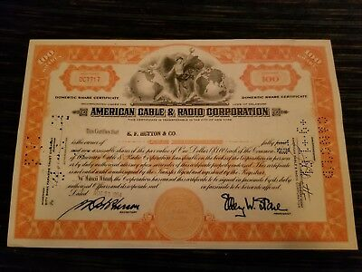 Vintage American Cable & Radio Corp Share Certificate 1954