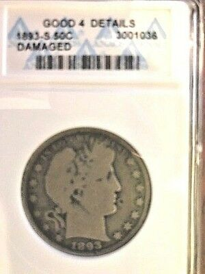 1893-S 50C Barber Half Dollar - ANACS Good 4 Details