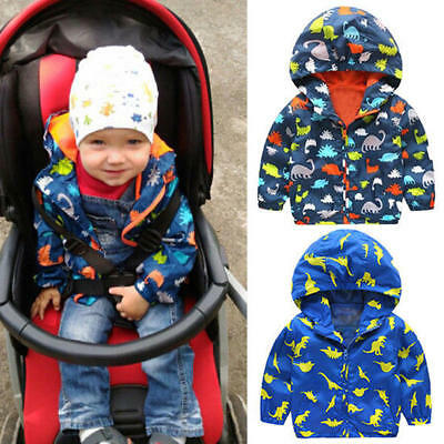 Kids Dinosaur Printed Outerwear Waterproof Windproof Hooded Rain Coat Jacket New