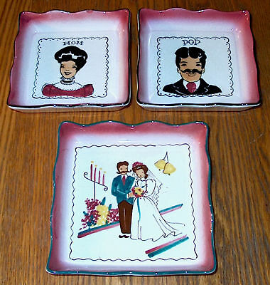 Lot Of 3 Vintage Florencita California Hand Painted  Pottery Wall Hangings