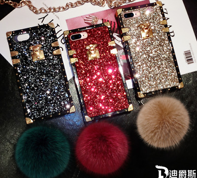 Bling Glitter Square Phone Case Cover For iPhone X XS Max XR 6 7 8 Plus Samsung