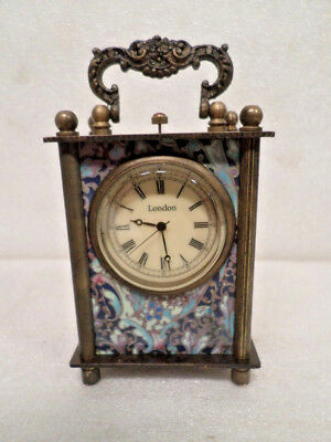Miniature Mechanical Wind Up Carriage Clock Having Victorian Side Panel Pictures