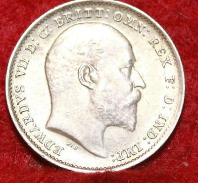 1910 Great Britain 3 Pence Silver Foreign Coin