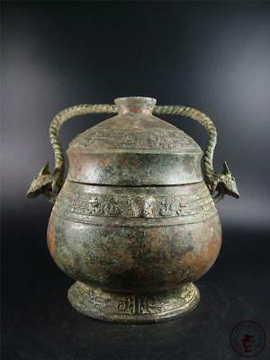 Very Large Fine Old Chinese Bronze Made Vase Statue Pot Collectibles w/ Cover