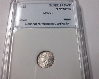 1822 Great Britain Victoria Silver 2 pence- Maundy