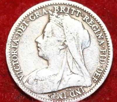 1901 Great Britain 3 Pence Silver Foreign Coin