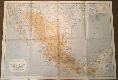 """National Geographic May 1914 Map MEXICO 18"""" x 22"""""""
