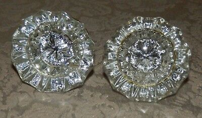Vintage Antique Matching Pair of Glass Door Knobs Brass