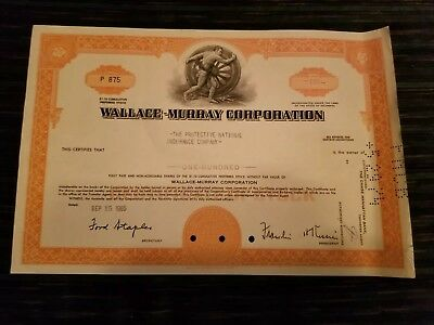 Vintage Wallace Murray Corp Share Certificate 1965