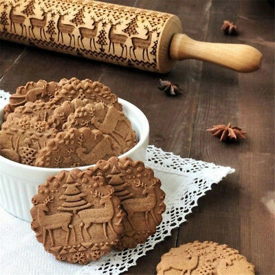 3D Christmas Embossing Wooden Rolling Pin Baking Cookies Tool Dough Roller W8