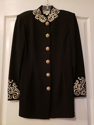 ST JOHN Evening by Marie Gray Santana Knit Jacket Black & Gold Embroidery - Sz 2