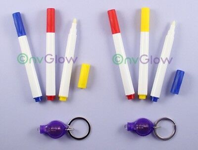 6 Invisible Ink Marker 2 UV Flashlight Black Light Reactive Pen Blue Red Yellow