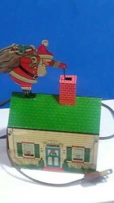 Vintage Antique Mechanical Tin Santa on House Roof Electrical Rare