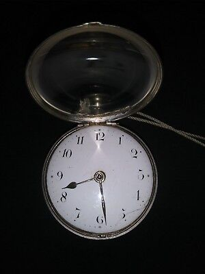 """Antique Verge Fusee 1700' / 1800's Silver Double Case Pocket Watch """"Key Wind"""""""