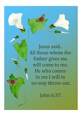 A6 Bible Verse John 3:3 Scripture Signed Limited Edition Watercolor Artwork