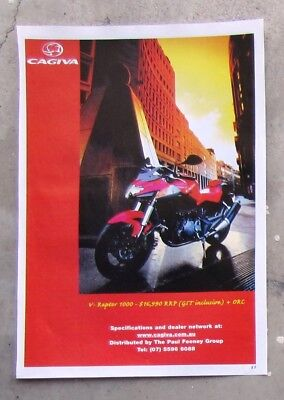 CAGIVA 2001 V-RAPTOR 1000 Motorcycle Magazine Page Sales Advertisement Brochure