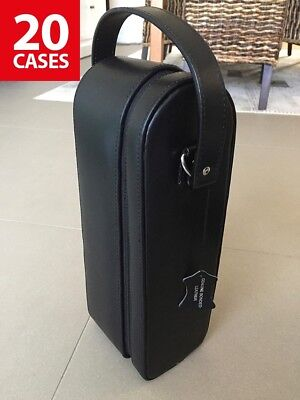 20 Genuine Leather Wine Carrying / Carry Cases - Black with suede lined interior
