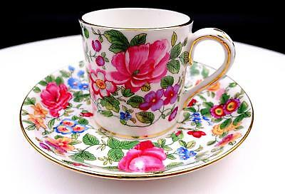 """Crown Staffordshire England Thousand Flowers 2 1/4"""" Demitasse Cup & Saucer 1965"""