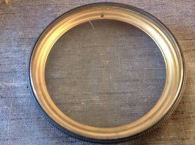 Antique Clock Bezel Brass Bevelled Glass Spare Parts 133mm Diameter