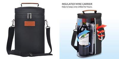Kato Insulated Wine Tote Bag - 2 Bottle Travel Padded Wine/ Champagne Cooler...