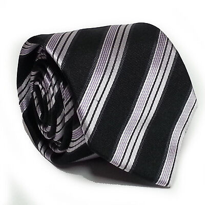"HUGO BOSS men dress silk tie 3"" wide 60"" long Black Pink White Stripes ITALY"