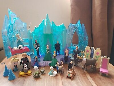 Disney Frozen Light Up Ice Palace And Great Mixed Bundle Of Figures.