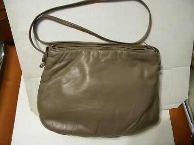 Brown Soft Genuine Leather Handbag Purse With Shoulder Strap