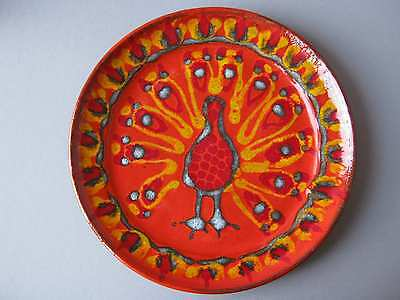 FAT LAVA Keramik Teller Dekor Pfau Peacock orange Wandteller 70er Design Pottery