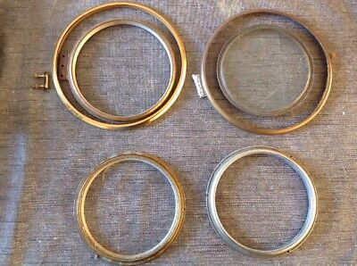 Antique Clock Bezels Brass Bevelled Glass Spare Parts Collection