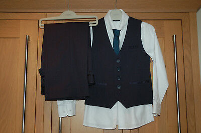 Next Boys Waistcoat, Trousers, White Shirt and Tie Age 6  Very Good Condition