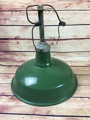 Vintage Antique Green Porcelain Barn Light Gas Station Industrial Garage RETRO