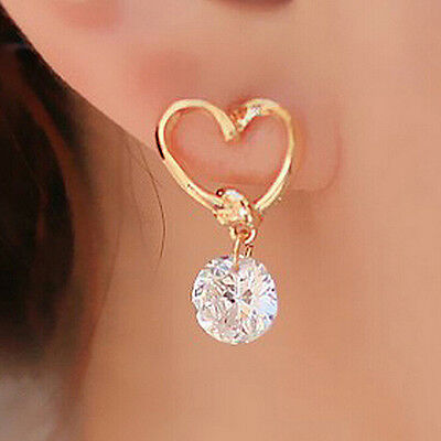 Crystal Rhinestone Drop Earrings Women's Silver-plated Ear Stud Earring PQ