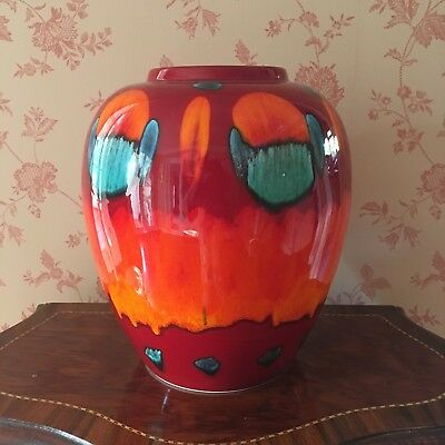 Large Poole Pottery Volcano Vase Red Orange Turquoise. Mint Condition.