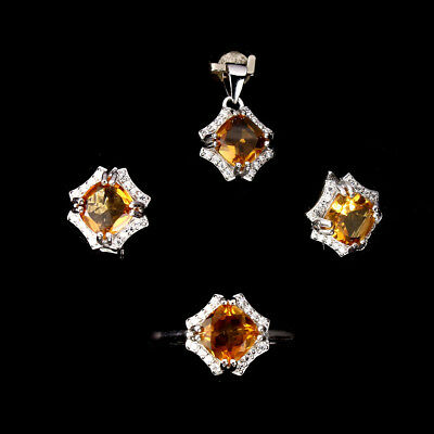 Exquisite Natural Top Rich Yellow Citrine Cubic Zirconia 925sterling Silver Sets