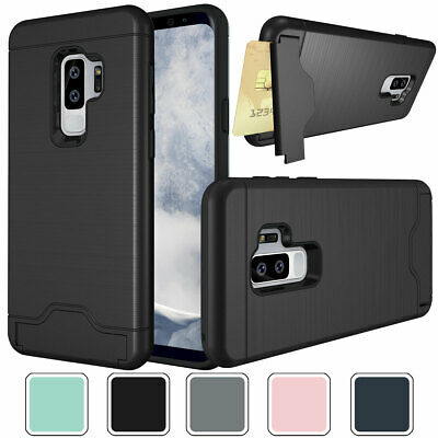 Hybrid Shockproof Card Holder Case with Stand For Samsung Galaxy S9 / S9+ Plus