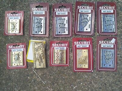 Joblot of 10 packs of brass and steel hinges still sealed new old stock