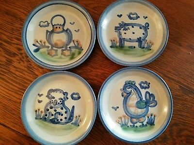 4 MA  M.A. Hadley Coaster Set Country Scene Duck Pig Dog and Rooster MINT