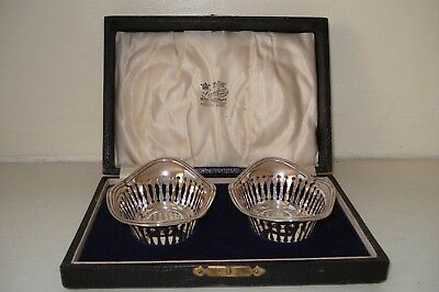 Pair Of Solid Silver Bon Bon Trays / Dishes, In Original Case.