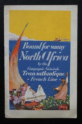 French Line Cgt North Africa Fine Art Deco Brochure 16Pages 1920's