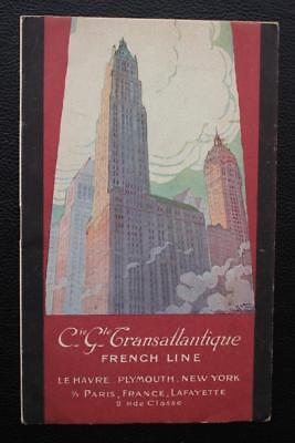French Line Cgt Ss Paris France Fine Art Deco 1920's Fold Out Brochure Flyer