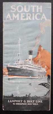 Lamport & Holt Line Fold Out Brochure Art Deco 1920's A/f Water Damage