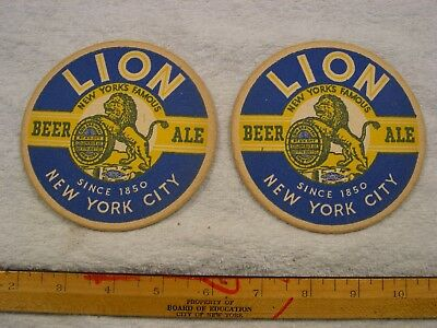 (2) Vintage Lion Beer Cardboard Coasters / New York City/ New Old Stock