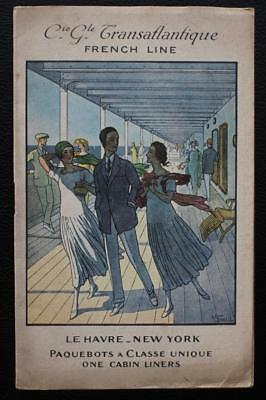 French Line Cgt Cabin Class Fine Art Deco 1920's Fold Out Brochure Flyer