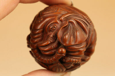 Rare chinese old Boxwood Hand Carved Elephant Statue Netsuke hand piece