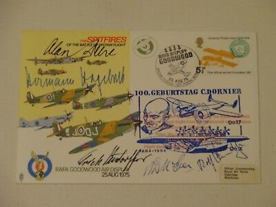 FDC Cover signed by 3 Luftwaffe Fighters + 1 British